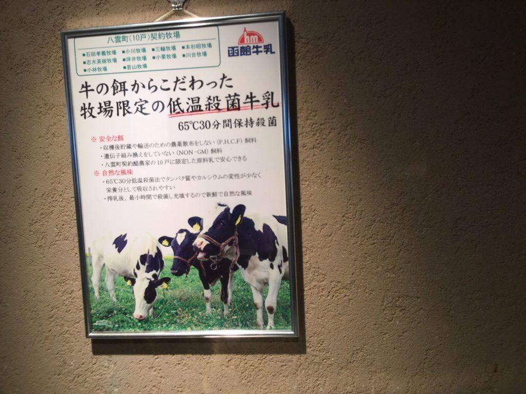 ラビスタ函館ベイの朝食牛乳表記